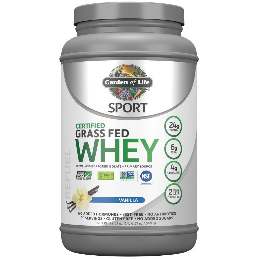 Garden of Life Sport Certified Grass Fed Clean Whey Protein Isolate, Vanilla, 22.57oz (1lb 6.57oz / 640g) Powder