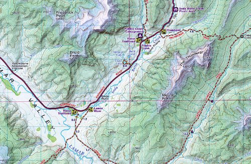 Beartooth Publishing Yellowstone National Park Trail Map