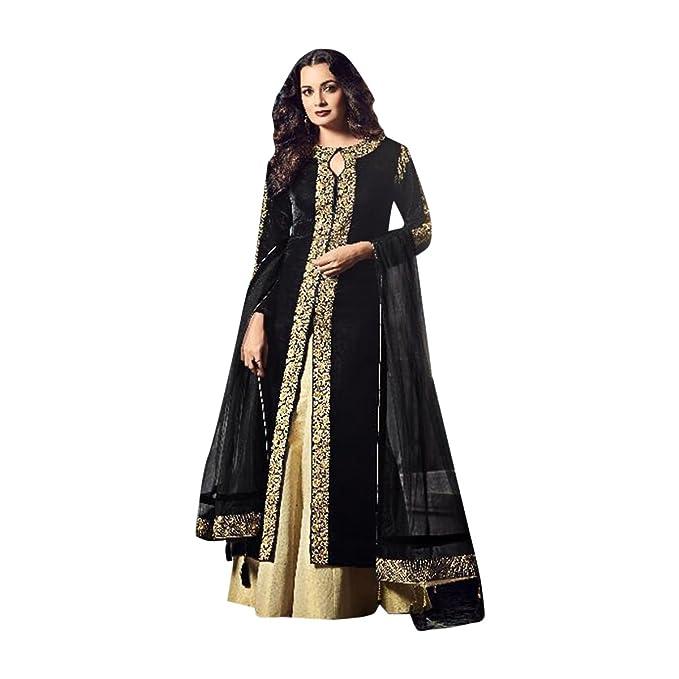 Negro Vestido de fiesta de diseño Vestido de terciopelo Salwar kameez Bollywood indio indowestern Vestido de