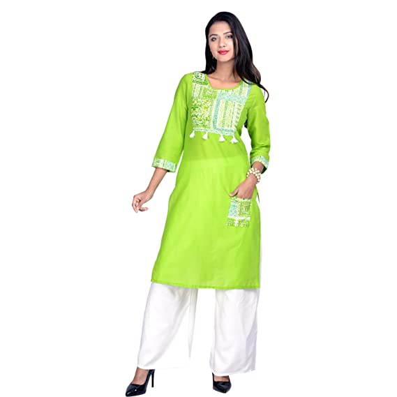 0bc0bbc4d62 SBM Women s Cotton Embroidered Casual Kurti  Amazon.in  Clothing ...