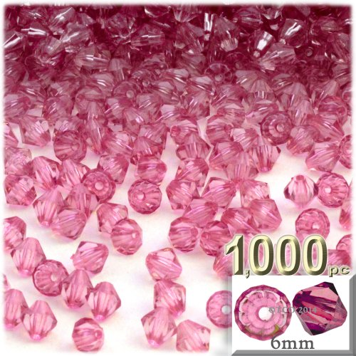 The Crafts Outlet, 1,000-pc Acrylic Bicone Beads, Faceted, 6mm, Pink -
