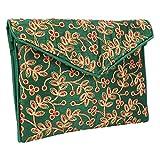 Small & Cutest Handmade Ethnic Embroidered Banjara Foldover Clutch Purse-Sling Bag-Cross Body Bag (Green)