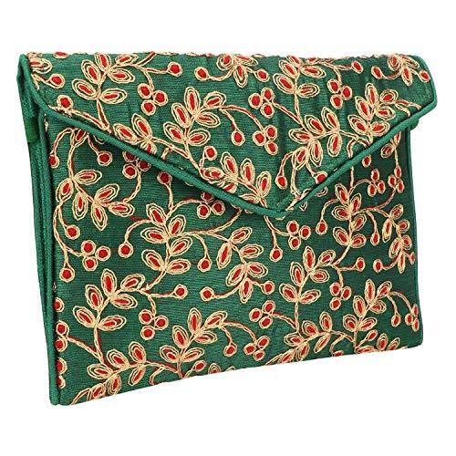 Small & Cutest Handmade Ethnic Embroidered Banjara Foldover Clutch Purse-Sling Bag-Cross Body Bag (Green) ()