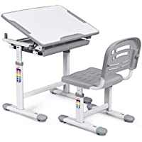 HONEY JOY Kids Desk and Chair Set, Height Adjustable Study Table and Chair, Tilting Desktop with Book Stand and Drawer Storage, Metal Hook for Schoolbag, Ergonomic Design for Boys and Girls (Gray)