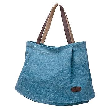 5ed86c69d0 PB-SOAR Damen XXL Vintage Canvas Shopper Schultertasche Handtasche  Beuteltasche Freizeittasche (Blau)