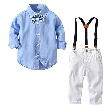 SANGTREE Traje de Esmoquin para bebé y niño pequeño, Camisa de ...