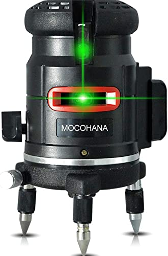MOCOHANA 5 Lines 6 Points Self Leveling Laser Level Horizontal Vertical Crossline Drywall Tools 360 Rotary Inclined Lines Indoor Outdoor for Floor Ceiling Yard Wood Work Laser Layout Tool Green Beam
