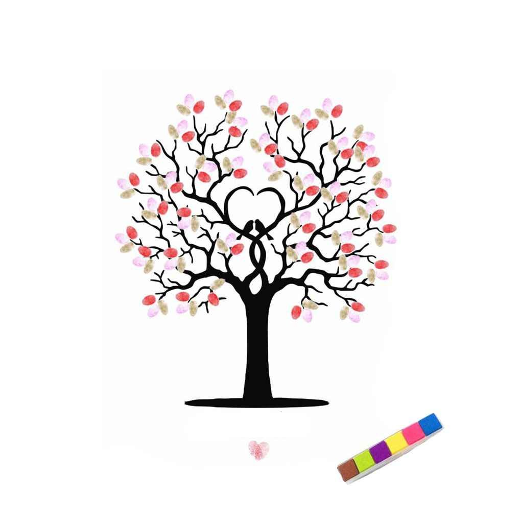 Korowa DIY Wedding Signature Fingerprint Tree Guests Book Canvas Painting with One Inkpad 4060cm