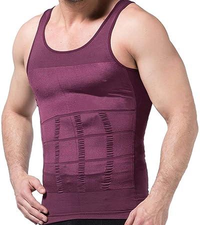 Haloku Hombre Entallado Camiseta, Faja Reductora Reductor Camisa, Cintura Abdomen Ropa Interior Chaleco de Compresión Elástico Entallado Ropa Reductora - Morado, Large: Amazon.es: Hogar
