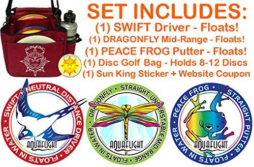 AquaFlight Deluxe Disc Golf Starter Set (3 Discs + Bag - Floats in Water!) by Sun King Disc Sports