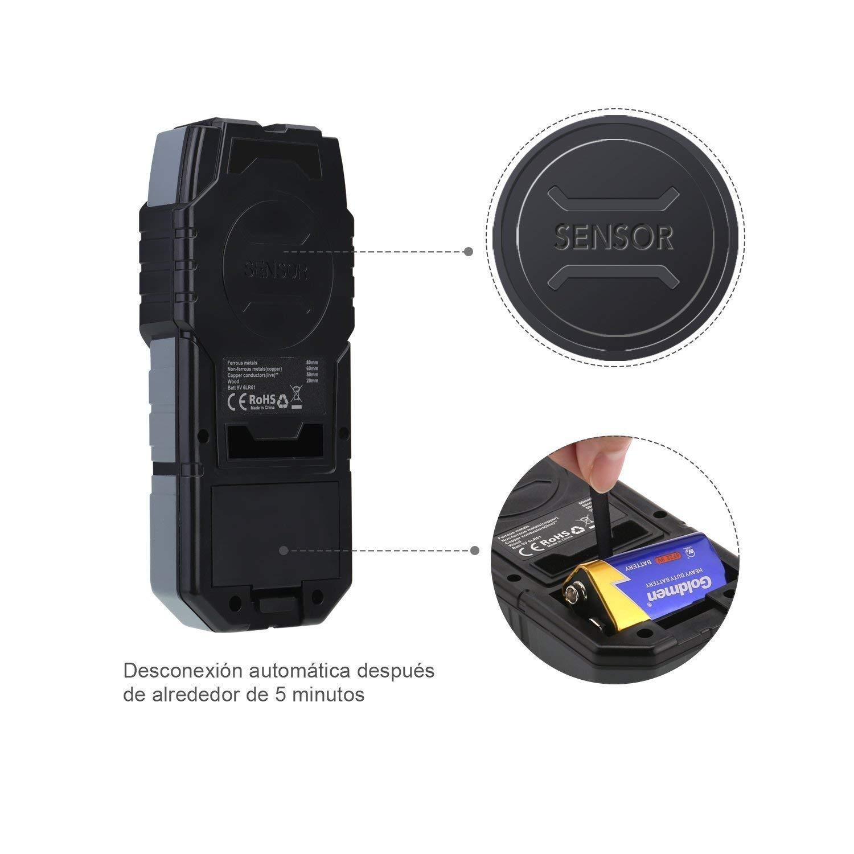 Esc/áner de Pared Cl/ásico y Multifuncional Bater/ía Incluida Indicaci/ón de Distancia Lleva una Bolsa Tacklife DMS03 Detector de Metal Detector de Pared Retroiluminaci/ón LCD Madera y AC Cable