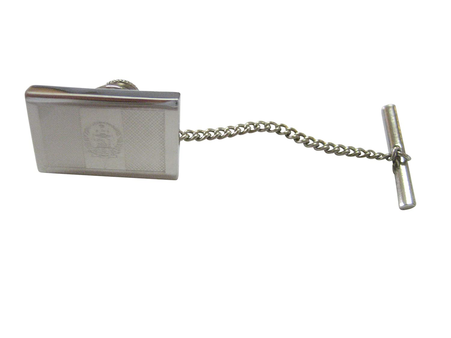 Silver Toned Etched Afghanistan Flag Tie Tack