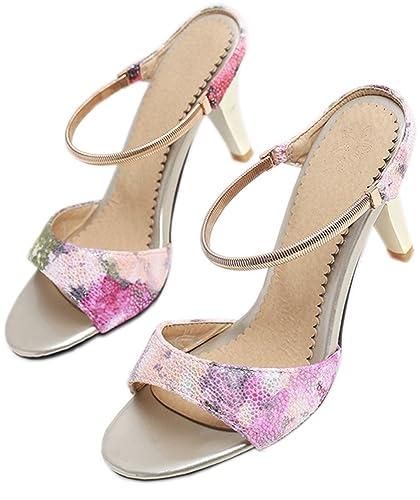 Womens Fashion Print Peep Toe Dress Kitten Heels Slip On Sandals KingRover Rabatt Billigsten Billig 100% Authentisch Bester Platz Frei Versendende Qualität Niedriger Preis H3N74gcl