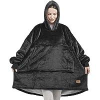 Original Sherpa Wearable Blanket Hoodie, Oversized Hooded Sweatshirt Blankets, One Big Size Fits All, 38x32 Black