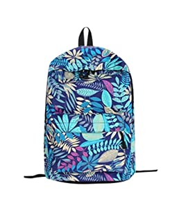 Top Sales Teenage's Backpack,ZYooh Fashion Leaves Printed School Backpack Canvas Shoulder Traveling Bag (Blue)