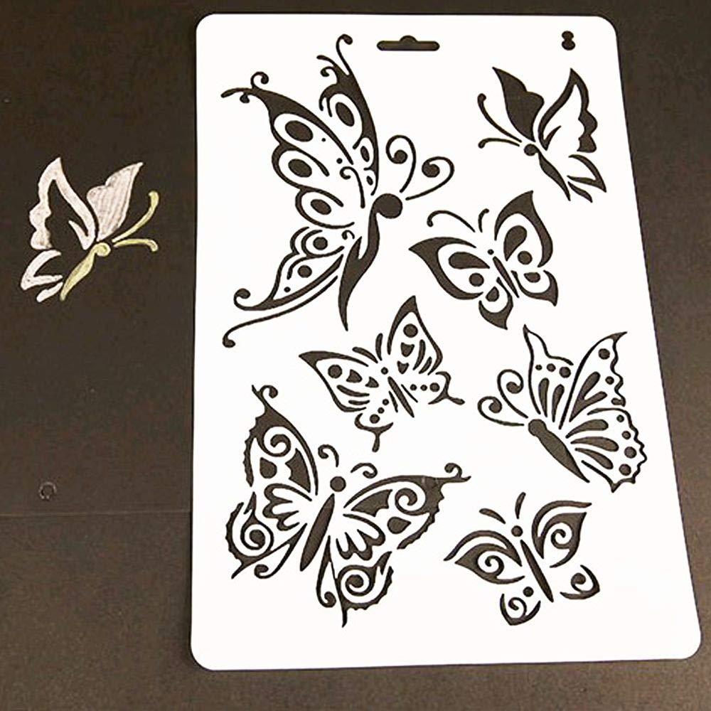 Plantilla hueca en relieve, mariposa DIY corte plantillas DIY moldes de plantillas, álbumes de recortes, manualidades, tarjetas, decoración DIY molde (juego ...