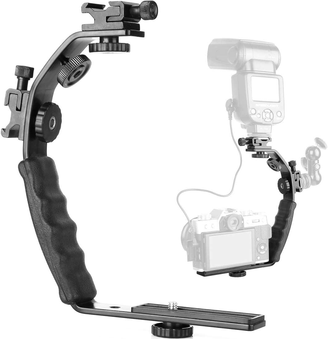 JINGZ L-Shaped Aluminum Flash Bracket Camera Holder Durable Color : Black