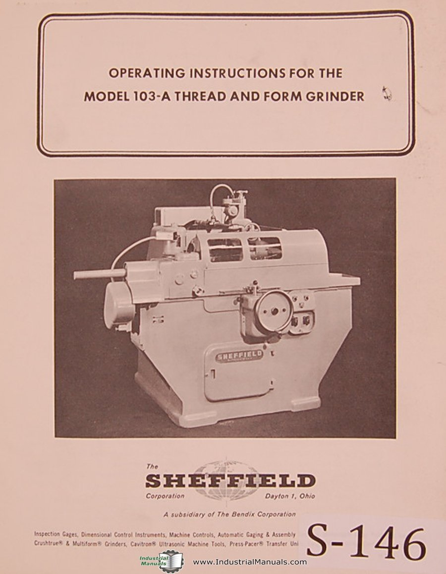 sheffield model 187 replacement parts manual spiral-bound – 1963