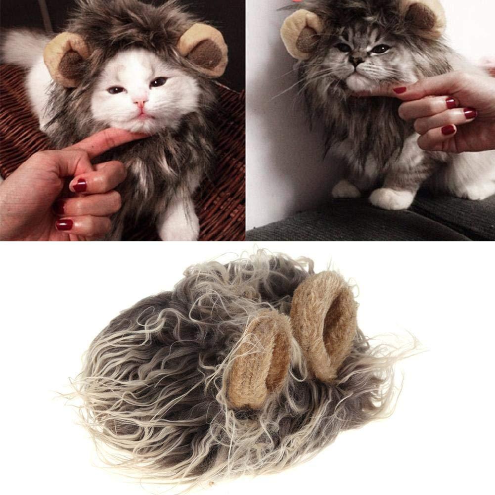 Yevison Premium Quality Pet Emulation Lion Hair Mane Cute Ear Pet Hat Cat Dog Cap Headband Headwear by Yevison