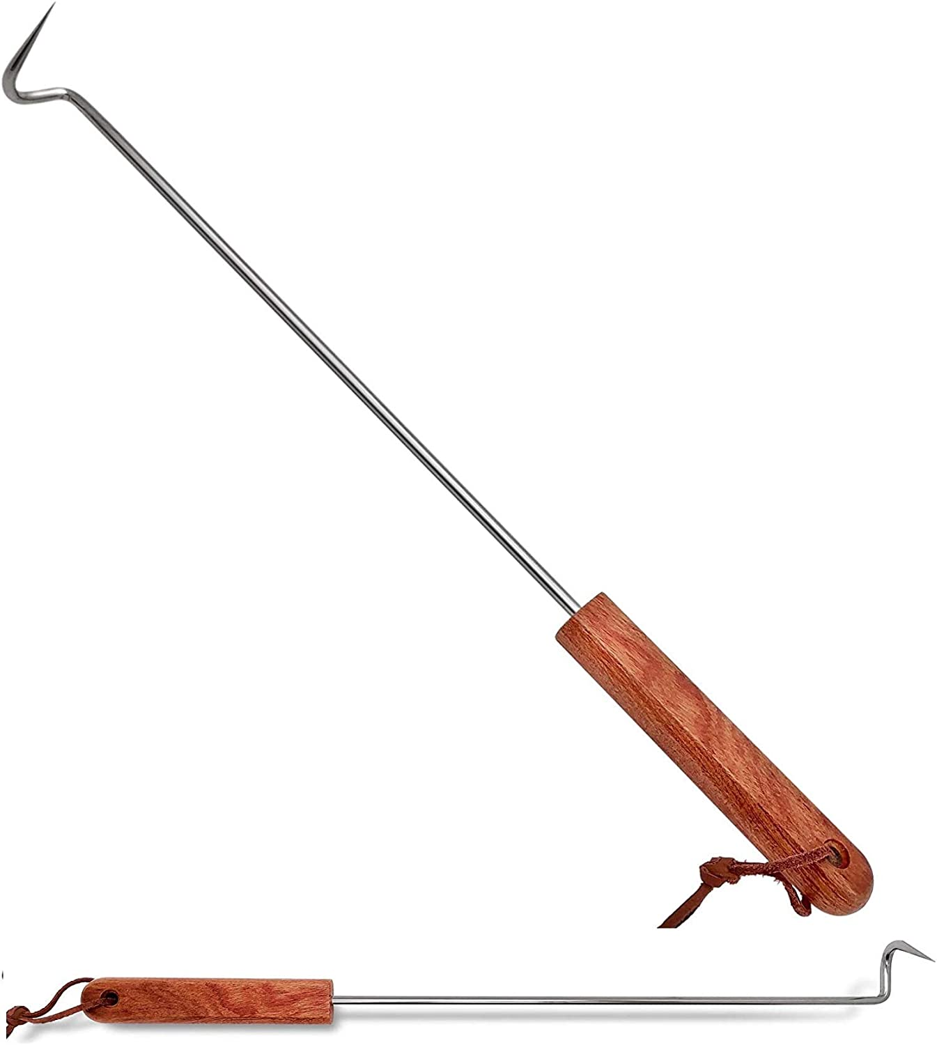 LQLMCOS Food Flipper Turner Hooks Stainless Steel BBQ Meat Hooks Cooking Barbecue Turners Hooks Grill Accessories with Wooden Handle for Grilling & Smoking (Style A-One Pack)