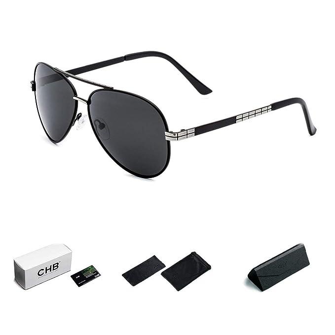 CHB Gafas de Sol Aviador Marco Metal Protección UV 400 Ligeras Polarizadas Con Estuche de Gafas