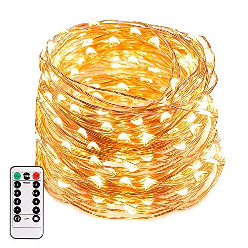 B-right LED String Lights, 66ft 200 LEDs 8 Modes Copper Wire Lights Waterproof Festival Decorative Starry Fairy String Lights Battery Operated with Remote Control for Indoor Garden Patio Warm White