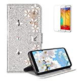 Funyye 3D Pearl Rhinestone Glitter Cover for Samsung Galaxy A8 2018,Silver Bling Diamond Lucky Butterfly Flower Magnetic Flip Wallet Cover with Stand Credit Card Silicone PU Leather Case for Samsung Galaxy A8 2018,Shockproof Non Slip Full Body Protection Cover for Samsung Galaxy A8 2018 + 1 x Free Screen Protector