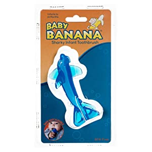 Baby Banana - Sharky Toothbrush, Training Teether Tooth Brush for Infant, Baby, and Toddler