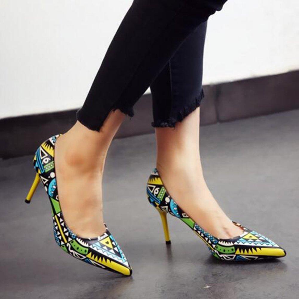 YIXINY Zapatos de tacón Estilo Étnico Colores Mezclados Zapatos De Tacón  Alto Zapatos De Mujer Stiletto Boca Poco Profunda Fiesta Citas (Color    Amarillo 17e59ba32e28