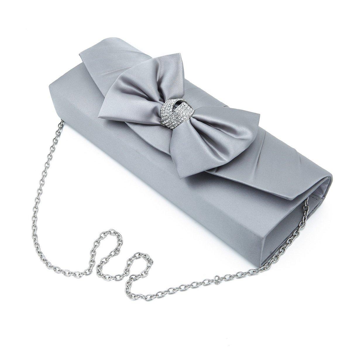 Elegant Satin Flap Bow Crystal Clutch Evening Bag, Silver Grey