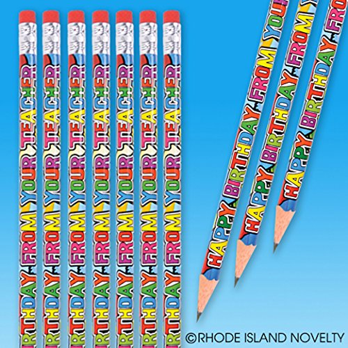 Dozen Happy Birthday From Your Teacher Wood Pencils - 7.5