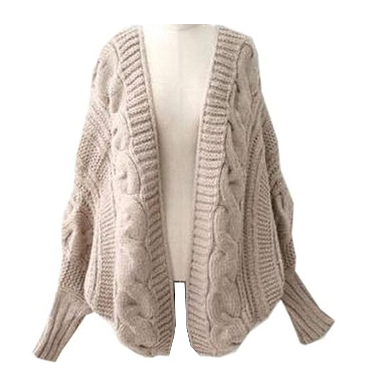 Amazon.com: Partiss Women Batwing Cable-knit Plus Size Cardigan ...