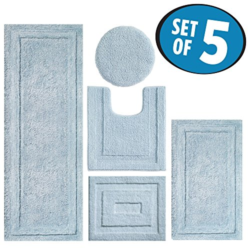 mDesign Contour, Toilet Seat Cover, and Bathroom Mat Combo Pack - Set of 5, Water from MetroDecor