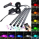 Car LED Strip Light,Interior Car Lights,4pcs 48 LED DC 12V Multicolor RGB Music Atmosphere Neon Under Dash Lighting Kit with Sound Active Function and Wireless Remote Control,Car Charger Included (48LED)