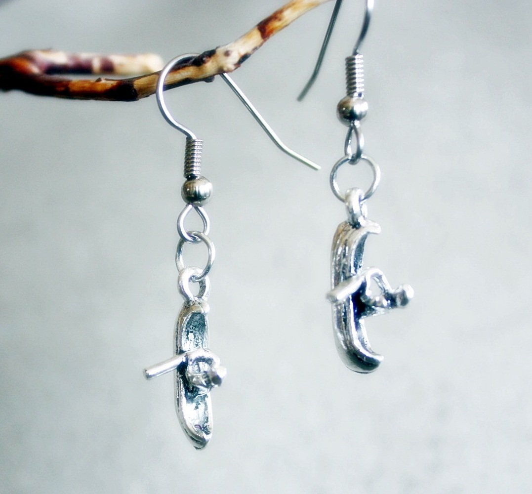 Kayak Earrings Pin Lakes Streams Oceans Dangle Kayaks Are the Way to Have Fun by Canoe (Image #1)
