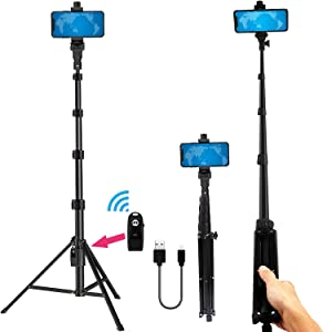 Phone Tripod Stand Selfie Stick 54 Inch Portable Aluminum Alloy Phone with Wireless Remote Shutter for iPhone Tripod 11 pro Xs Max Xr X 8 7 6 Plus, Android Samsung Galaxy Smartphone Vlog/Live Stream