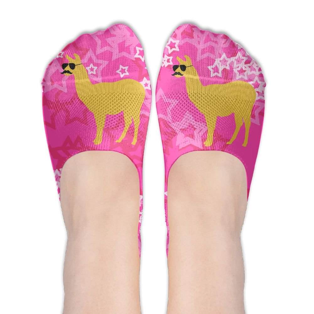 Llama With Sunglasses And Mustache Polyester Deodorant Ankle Socks Non Slip Socks For Women