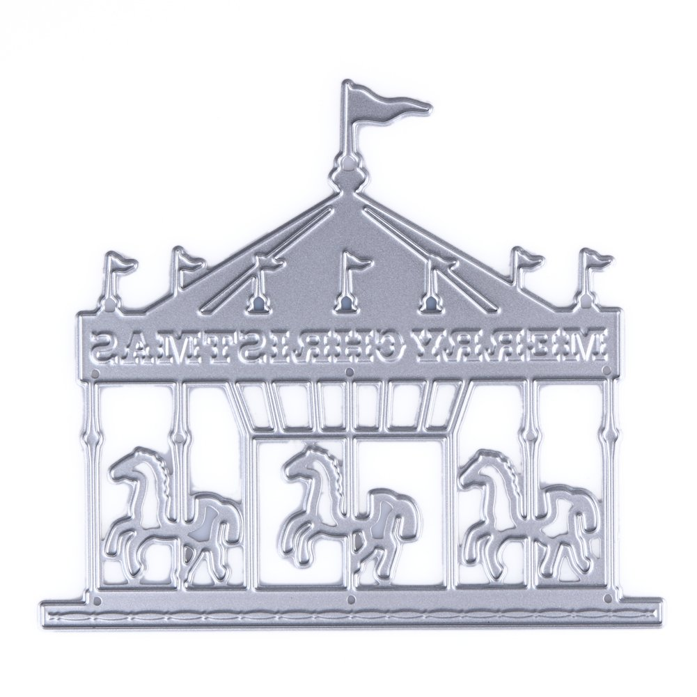 Demiawaking Carousel and Castle Shaped Cutting Dies Stencil for DIY Scrapbooking Album Card Making Embossing Template (Carousel)