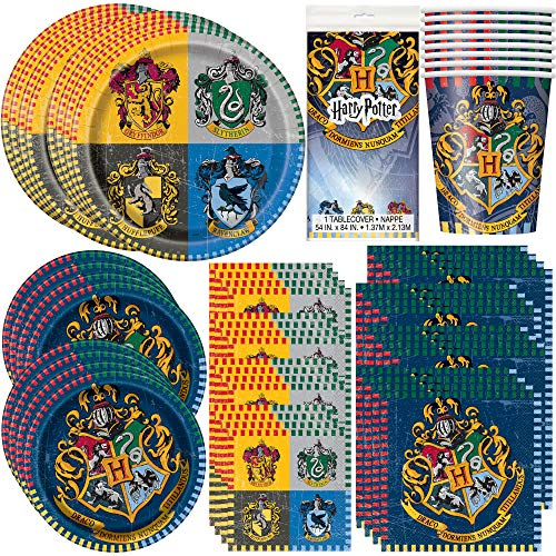 Unique Party Bundle Featuring Harry Potter | Luncheon & Beverage Napkins, Dinner & Dessert Plates, Table Cover, Cups | Great for Fantasy/Wizard/Magic Birthday Themed Parties (Harry Potter Plates And Napkins)