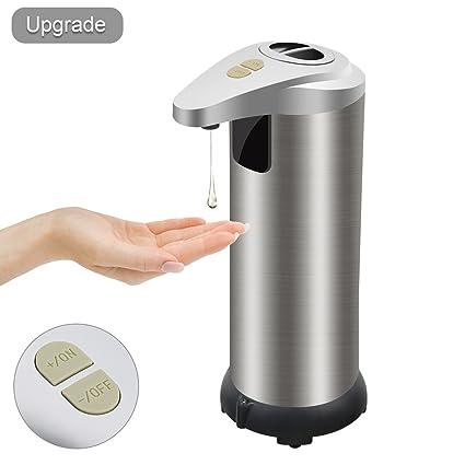 Dispensador de jabón líquido con sensor automático y piano de apoyo con base impermeable de acero