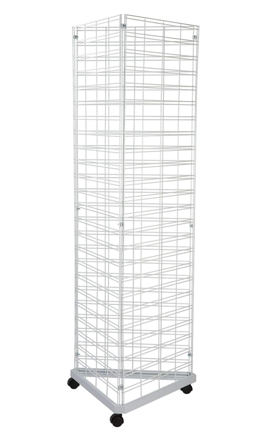 White Triangle Wire Grid Tower with Base and Casters