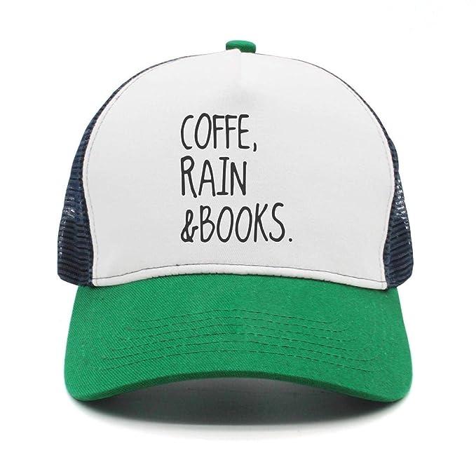 73991291b17db Funny Coffee Rain And Books Green Mesh Trucker Hat Summer Mens Womens  Adjustable