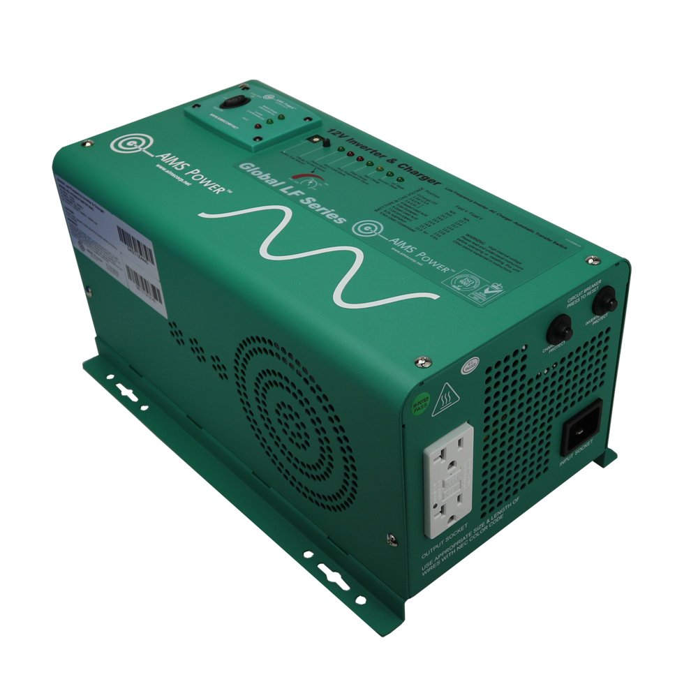 Aims Power PICOGLF12W12V120AL Green 1250 Watt 12VDC to 120VAC Power Inverter Charger with Transfer Switch