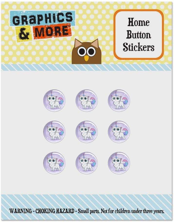 Cat Unicorn Set of 9 Puffy Bubble Home Button Stickers Fit Apple iPod Touch, iPad Air Mini, iPhone 5/5c/5s 6/6s 7/7s Plus