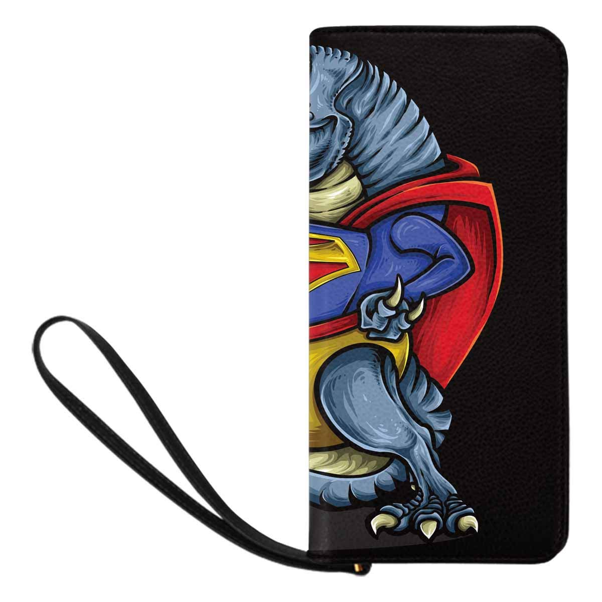 InterestPrint Womens Dinosaur with Superhero Costume and Strong Muscle Clutch Purse Card Holder Organizer Ladies Purse