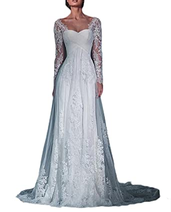 Ulbridal Beautiful Lace Long Sleeve Empire Waist A Line Bridal ...