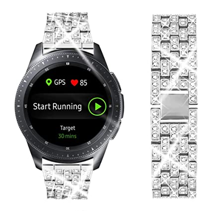 Dsytom Compatible with Samsung Galaxy Watch 42mm/Active/Active2 40mm 44mm Band, Gear Sport/S2 Classic,Metal Bracelet Replacement Bands Wristband ...
