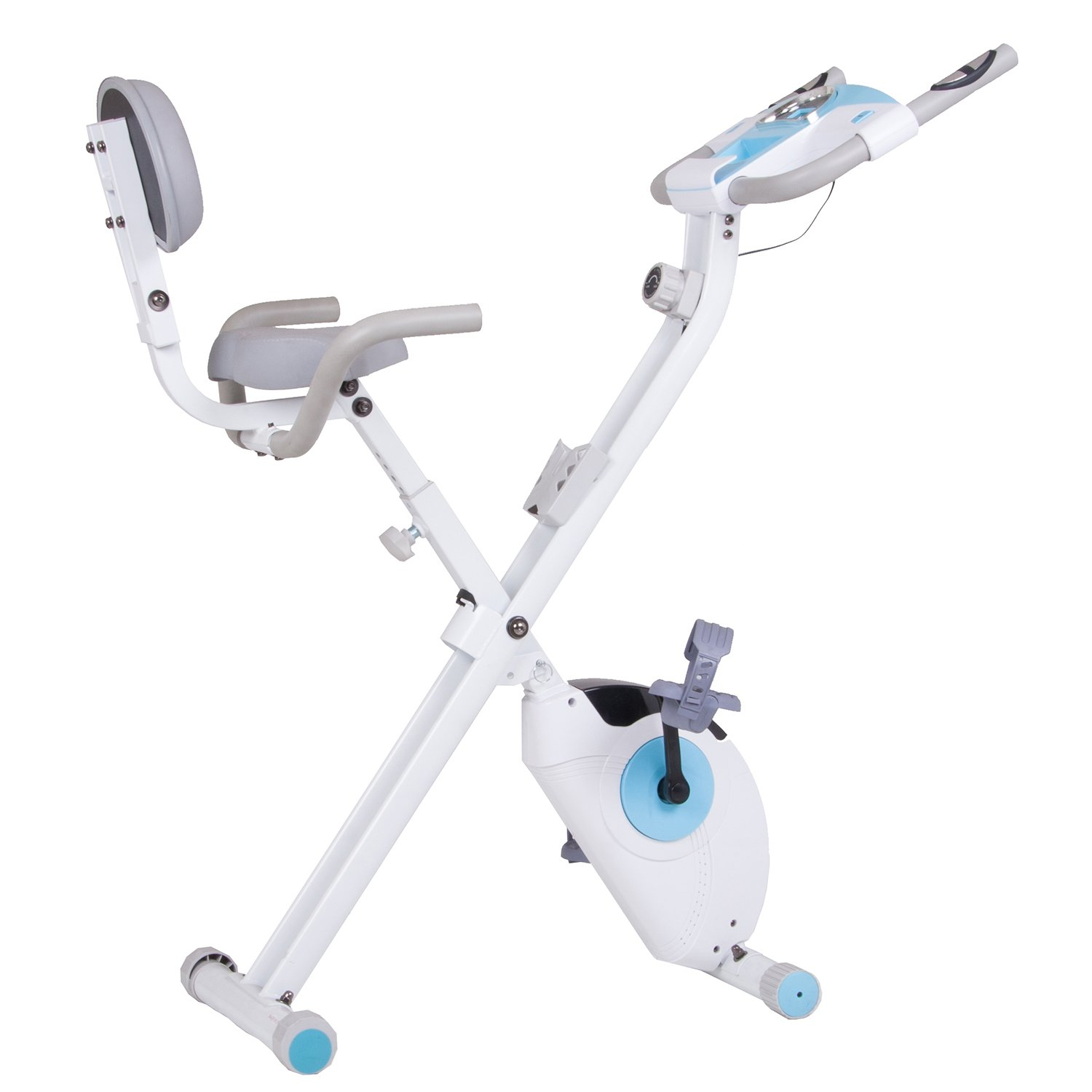 NEW LAUNCH DISCOUNT Body Rider Leisa Hart Folding Exercise Bike with Back Rest, Retro Screen Monitor, Heart Pulse Monitor, and Magnetic Adjustable Resistance for Full Body Workout