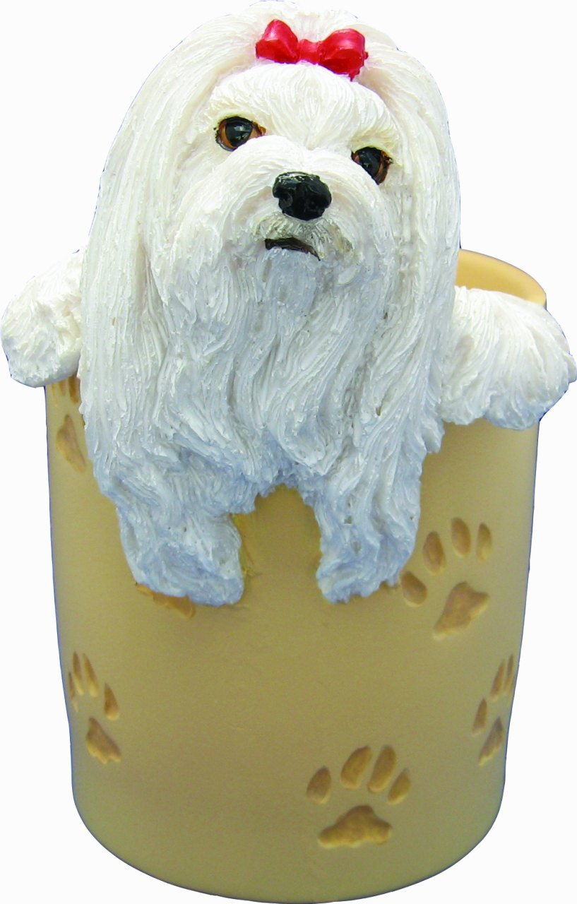 Maltese Pencil Cup Holder with Realistic Hand Painted Maltese Face and Paws Hanging Over Cup, Uniquely Designed Maltese Gifts, A Convenient Organizer for Home or Office, One Of A Kind Pen Holder