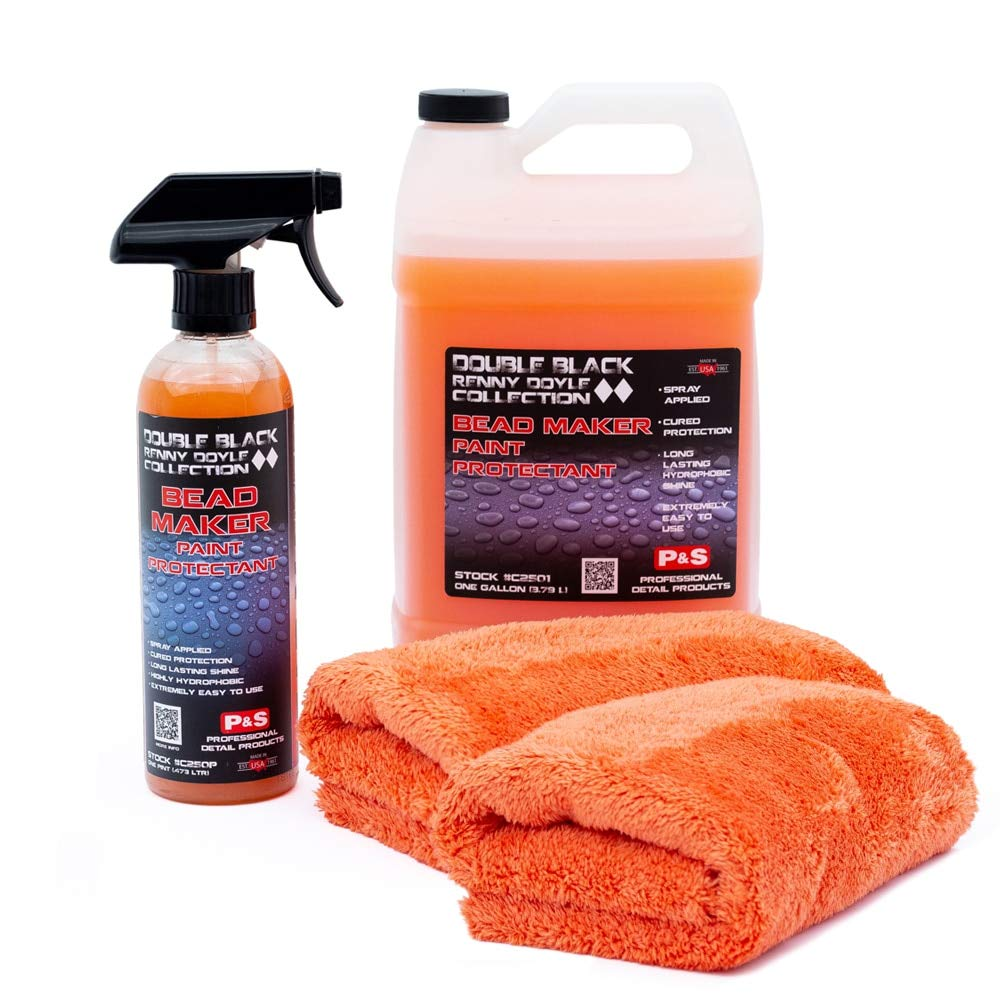 P&S Detailing Products C2501 + C250P Bead Maker Paint Protectant Combo Kit (1 Gallon + 1 Pint) with Bead Maker Ultimate Microfiber Towels from The RAG Company by P&S Detailing Products